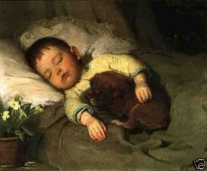 Free-shipping-100-handcraftsart-Art-oil-painting-sleeping-little-boy-on-bed-dog-canva-24x-36inch